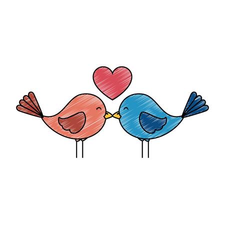 Cute birds with hearts vector illustration design.