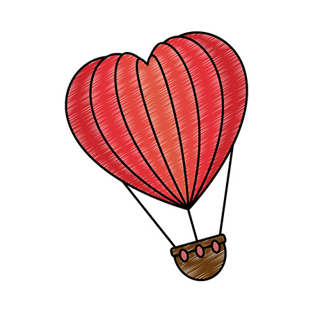 Romantic travel in balloon air hot with heart shaped vector illustration design.