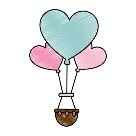 romantic travel in balloon air hot with heart shaped vector illustration design 向量圖像