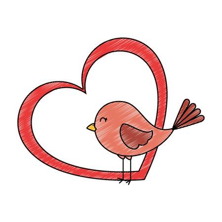 Niedlichen Vogel mit Herz Vektor-Illustration Design Standard-Bild - 93527081