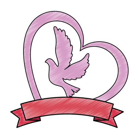 dove with heart icon vector illustration design Ilustração