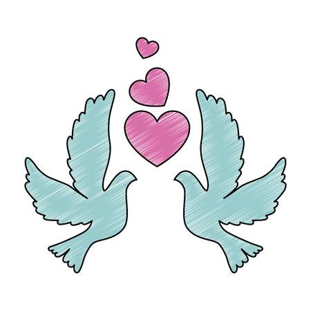 Tauben mit Herz-Symbol Vektor-Illustration Design Standard-Bild - 93527092