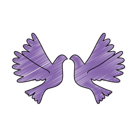 doves flying isolated icon vector illustration design Ilustração