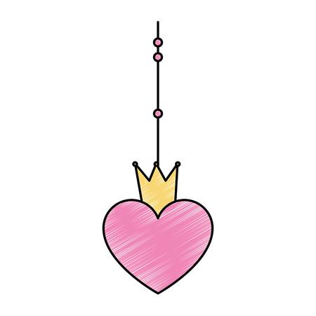 Cuore con la corona che appende progettazione decorativa dell'illustrazione di vettore dell'icona Archivio Fotografico - 93527122
