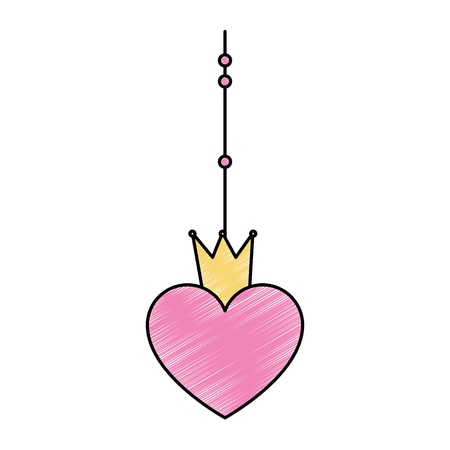 heart with crown hanging decorative icon vector illustration design Illustration