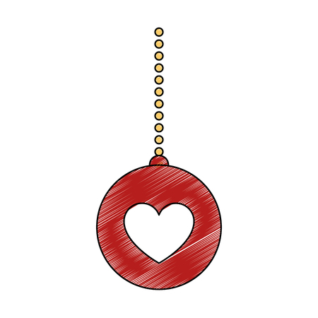 ball with heart hanging decorative icon vector illustration design