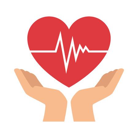 Handen met vector de illustratieontwerp van het hart cardio geïsoleerd pictogram. Stockfoto - 93524282