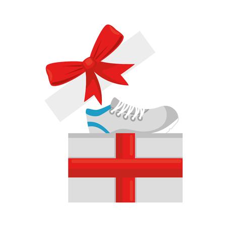 giftbox with sport shoe tennis vector illustration design