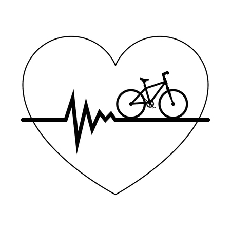 Heart cardio with bicycle vector illustration design.