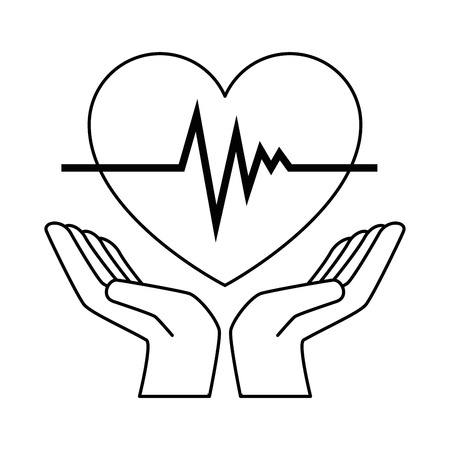 心臓カーディオ分離アイコンベクトルイラストデザインで手