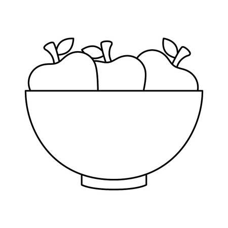 bowl with apples fruits vector illustration design Stok Fotoğraf - 93534957