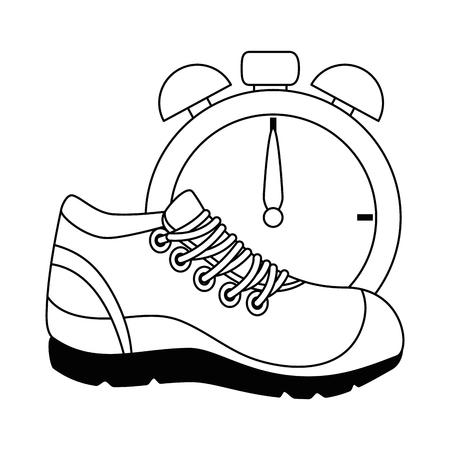 sport schoen tennis met chronometer vector illustratie ontwerp Stock Illustratie