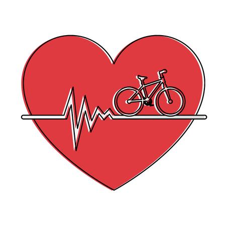 Coeur cardio avec vélo conception vecteur illustration Banque d'images - 93529637
