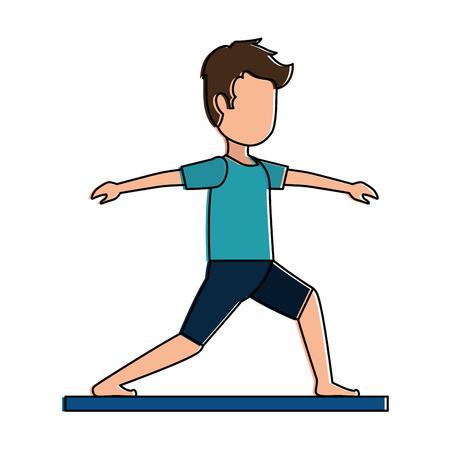 Man practicing yoga avatar vector illustration design.