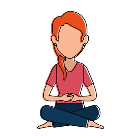 woman practicing yoga avatar vector illustration design