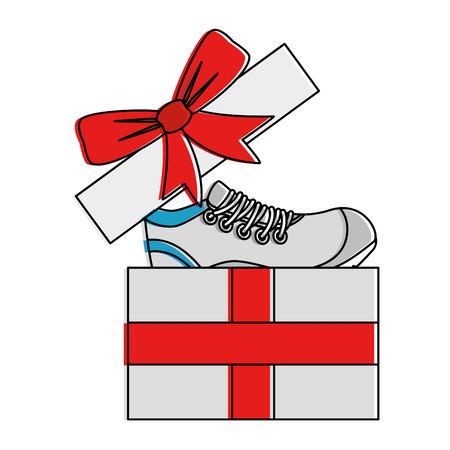 gift box with sport shoe tennis vector illustration design Illustration