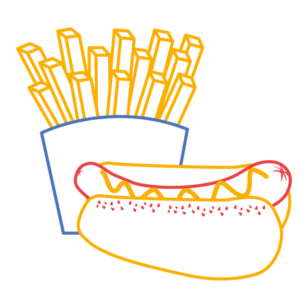 hot dog and french fries food diet vector illustration Illusztráció