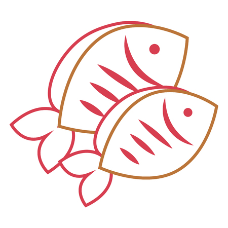 two fresh fish food healthy vector illustration