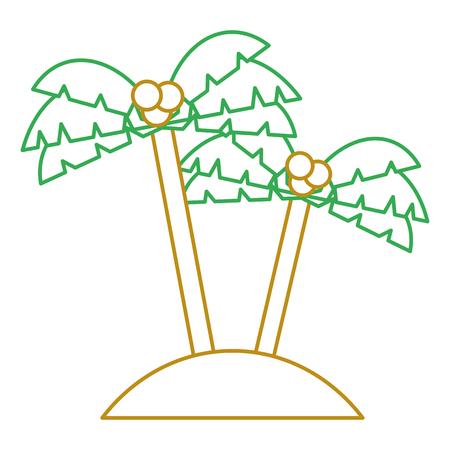 두 손바닥 나무 코코넛 해변 모래 벡터 일러스트 레이션