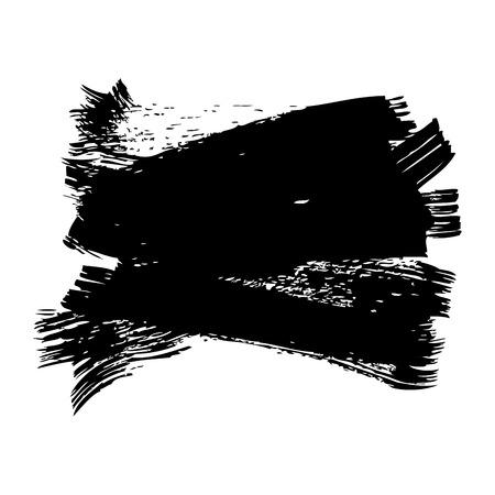 インクブラシストロークとテクスチャブラックペイントベクトルイラスト  イラスト・ベクター素材