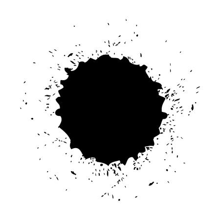 Brush ink stain round grunge dirty element vector illustration