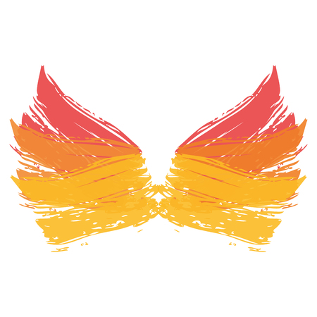 two wings paint ink brush grunge strokes color vector illustration Illustration
