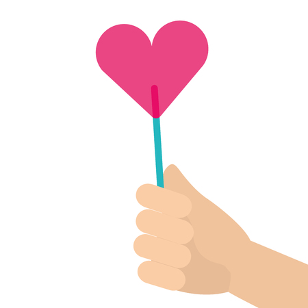 Hand holding heart shaped lollipop candy illustration