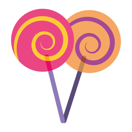 two lollipop round spiral sweet with stick vector illustration