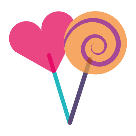 two round lollipop and heart shape vector illustration