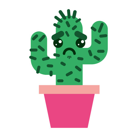 cartoon potted cactus  character vector illustration