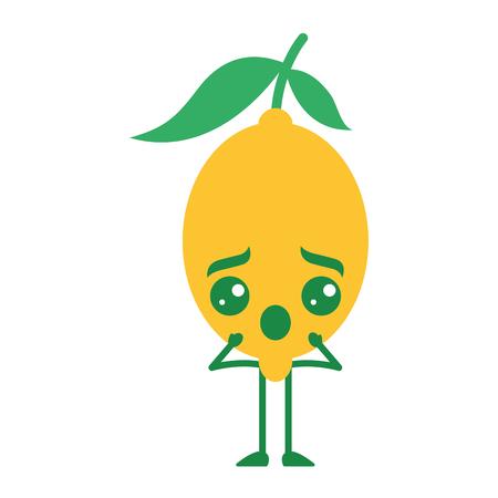 Citrus lemon kawaii cartoon fruit vector illustration