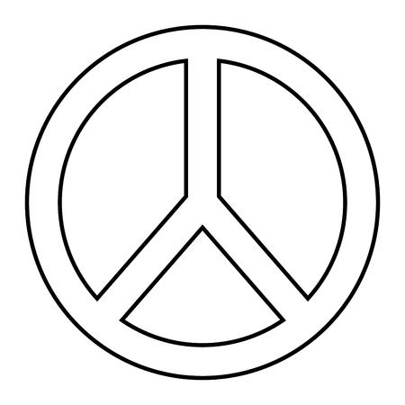 平和と愛のシンボルアウトラインデザインベクトルイラスト  イラスト・ベクター素材