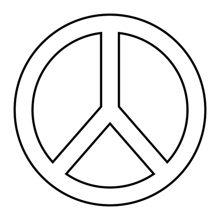 peace and love symbol outline design vector illustration
