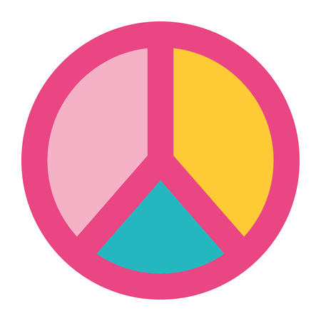 peace and love symbol pastel color patch vector illustration Иллюстрация