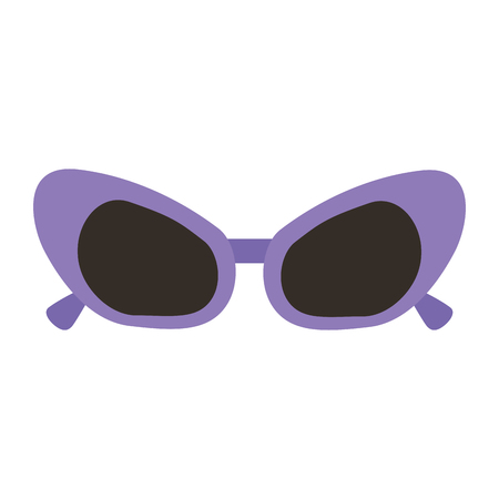 sunglasses purple frame fashion accessory cartoon vector illustration