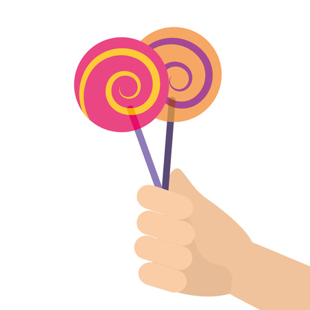 hand holding lollipop sweet candy vector illustration