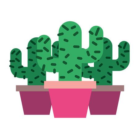 3鉢植えサボテン植物自然ベクトルイラスト