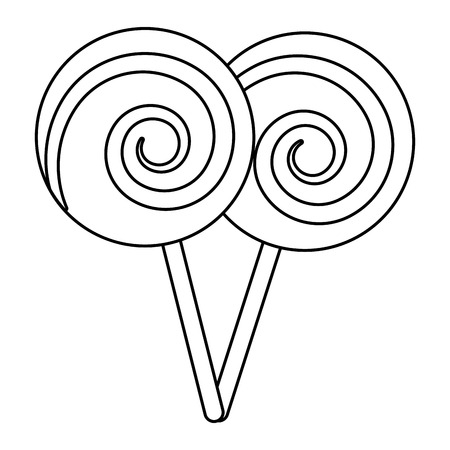 two lollipop round spiral sweet with stick vector illustration outline design