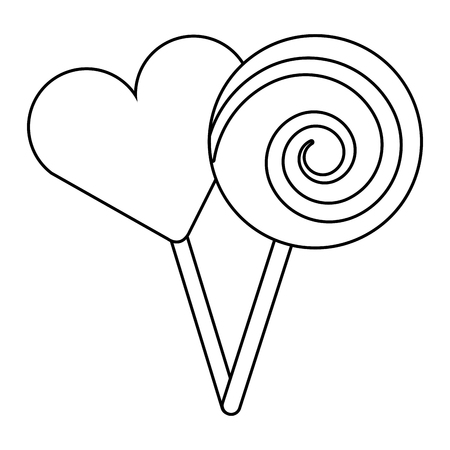 two round lollipop and heart shape candy vector illustration outline design