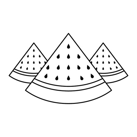 Three slice of watermelon Illustration