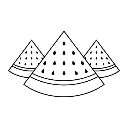 Three slice of watermelon Illusztráció
