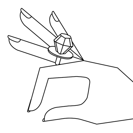Cartoon hand met diamanten ring