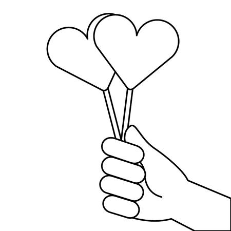 hand holding lollipop sweet candy vector illustration outline design