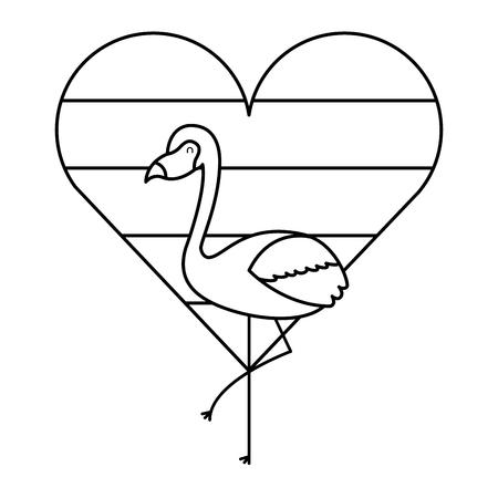 flamingo bird and striped heart love vector illustration outline design