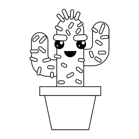 cartoon potted cactus kawaii character vector illustration outline design