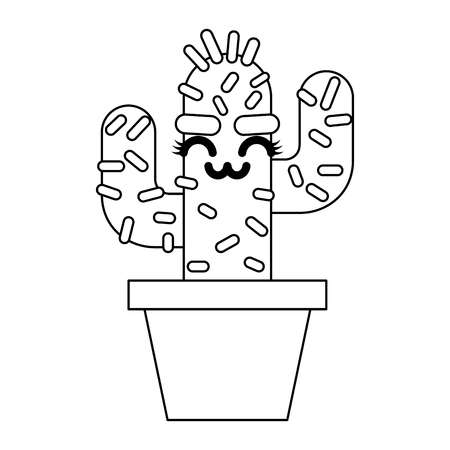cartoon potted cactus character vector illustration outline design Çizim