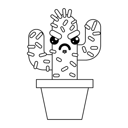 cartoon potted cactus character vector illustration outline design Çizim