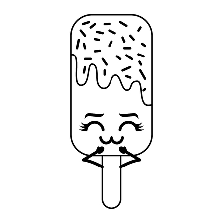 ice cream stick cartoon character vector illustration outline design