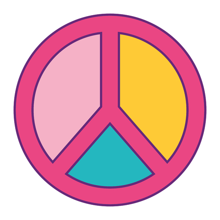 peace and love symbol pastel color patch vector illustration Illustration