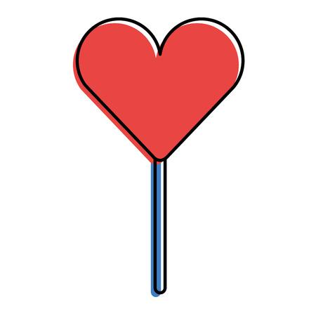 heart shape lollipop sweet dessert vector illustration Ilustração